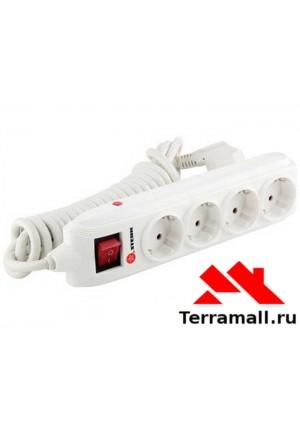 Удлинитель бытовой с заземлением, выключателем, 3*1,5мм*4м, 4 розетки, 16A, Stern 95747