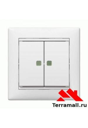 Выключатель Легранд внутренней установки, 2-клавишный, белый с подсветкой