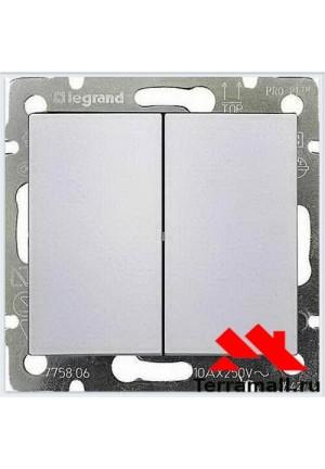 Выключатель Легранд внутренней установки, 2-клавишный, белый