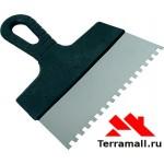 Шпатель из нержавеющей стали, 150 мм Сибртех, зуб 10х10 мм, ручка пластик