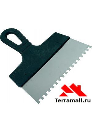 Шпатель из нержавеющей стали Сибртех, 200 мм, зуб 10х10 мм, ручка пластик