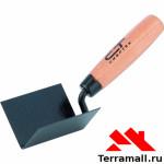 Кельма угловая, 80х60х60 мм, стальная, для внутренних углов, буковая ручка