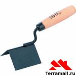 Кельма угловая Сибртех 80х60х60 мм, стальная, для внешних углов, деревянная ручка
