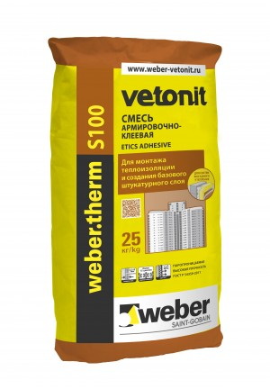 Вебер Ветонит Терм s100 клеевая смесь для монтажа теплоизоляции (25 кг)