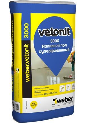 Вебер Ветонит 3000 финишный самовыравнивающийся наливной пол 20 кг Vetonit