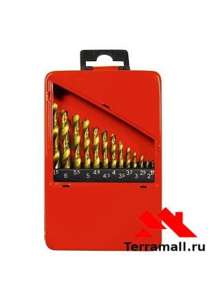 Набор Матрикс нитридтитановых сверл по металлу, 13 шт. 1.5-6.5мм через 0.5мм+3.2мм 4.8 мм, НSS