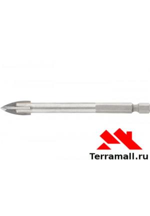 Сверло по керамической плитке 5 мм, крестовая пластинка, шестигр. хвостовик Барс 72803